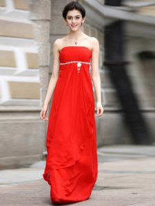 Chiffon Sleeveless Floor Length Casual Dresses and Beading and Ruching