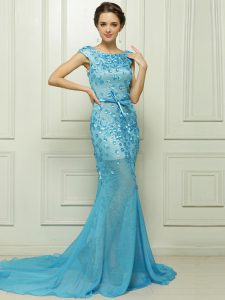 Mermaid Chiffon Sleeveless With Train Prom Dresses Brush Train and Beading and Appliques
