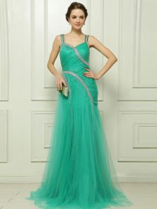 With Train Turquoise Prom Party Dress Organza Brush Train Sleeveless Beading and Ruching