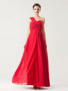 Red Zipper One Shoulder Ruching Party Dress for Girls Chiffon Sleeveless