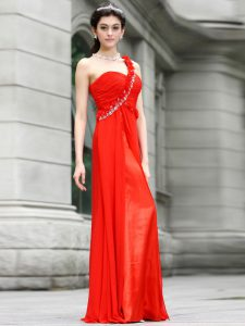 One Shoulder Coral Red Zipper Prom Party Dress Beading and Hand Made Flower Sleeveless Floor Length