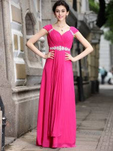 Floor Length Zipper Prom Dress Hot Pink for Prom and Party with Beading
