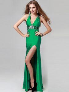 Luxury V-neck Sleeveless Elastic Woven Satin Red Carpet Prom Dress Beading Criss Cross