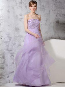 Lavender Column/Sheath Lace Prom Party Dress Side Zipper Tulle Sleeveless Floor Length