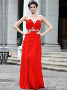 Coral Red Silk Like Satin Zipper Strapless Sleeveless Floor Length Beading