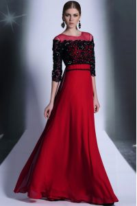 Scoop Red And Black 3 4 Length Sleeve Chiffon Clasp Handle Dress for Prom for Prom and Party