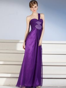 Chiffon One Shoulder Sleeveless Zipper Ruching and Bowknot Prom Evening Gown in Purple