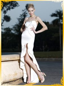Trendy Mermaid Prom Dresses White Sweetheart Satin Sleeveless High Low Zipper