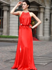 Scoop Floor Length Column/Sheath Sleeveless Coral Red Zipper
