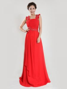 Column/Sheath Evening Gowns Coral Red Straps Chiffon Sleeveless Floor Length Zipper