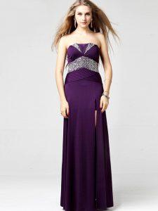 Stunning Purple Chiffon Zipper Prom Evening Gown Sleeveless Floor Length Sequins