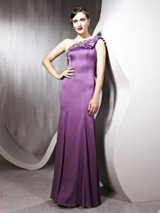 One Shoulder Floor Length Side Zipper Evening Dress Lilac for Prom and Party with Beading