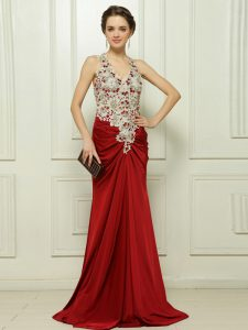 Red Zipper Prom Party Dress Beading and Appliques Sleeveless With Brush Train