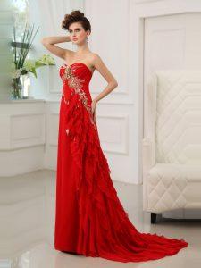 Exceptional Ruffled Sweetheart Sleeveless Brush Train Zipper Prom Party Dress Red Chiffon