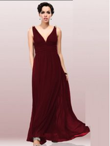 V-neck Sleeveless Zipper Mother Of The Bride Dress Burgundy Chiffon
