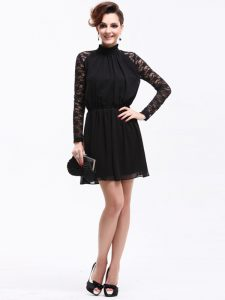 Cute Black High-neck Zipper Lace Mother Of The Bride Dress Sleeveless