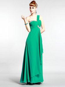 Sweet One Shoulder Sleeveless Zipper Floor Length Beading Pageant Dresses