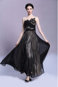 Traditional Black Going Out Dresses Prom and Party and For with Appliques Scoop Sleeveless Side Zipper