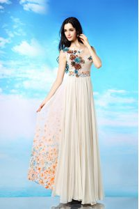 Wonderful White Column/Sheath Chiffon Scoop Sleeveless Appliques and Ruching and Pattern Ankle Length Side Zipper Evenin