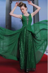 High End Dark Green Sleeveless Chiffon and Sequined Side Zipper Prom Dresses for Prom and Party