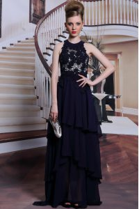 Scoop Sleeveless Mother Of The Bride Dress Floor Length Beading and Lace Black Chiffon