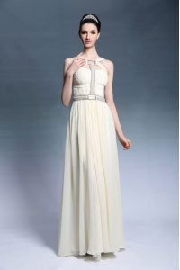 Light Yellow Sleeveless Floor Length Beading and Ruching Side Zipper Mother Of The Bride Dress