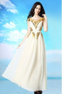 Classical White Side Zipper Scoop Sequins and Ruching Prom Dress Chiffon Cap Sleeves