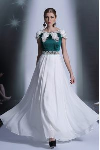 Traditional Scoop Cap Sleeves Prom Gown Floor Length Appliques White Chiffon