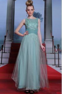 Sweet Floor Length Light Blue Homecoming Dress Chiffon Sleeveless Beading and Appliques and Ruching