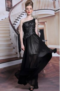 Beauteous One Shoulder Sleeveless Prom Gown Floor Length Appliques Black Chiffon