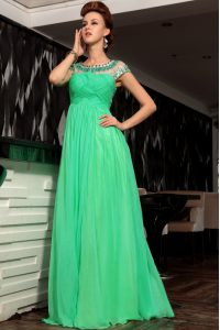 Nice Scoop Floor Length Green Juniors Party Dress Chiffon Sleeveless Beading and Ruching