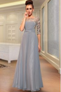 Column/Sheath Dress for Prom Grey Square Chiffon Half Sleeves Ankle Length Side Zipper
