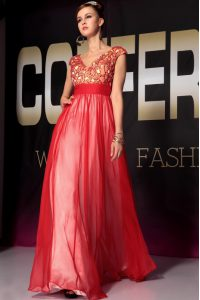 Fabulous Red Empire Appliques and Belt Prom Dresses Side Zipper Organza Short Sleeves Floor Length
