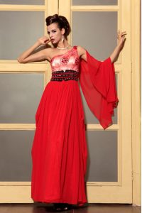 Amazing Red Empire One Shoulder Sleeveless Chiffon Floor Length Side Zipper Beading Prom Party Dress