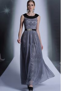 Scoop Grey Sleeveless Tulle Side Zipper for Prom and Party