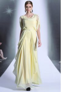 Light Yellow Going Out Dresses Prom and Party and For with Lace and Ruffles Scoop Short Sleeves Zipper