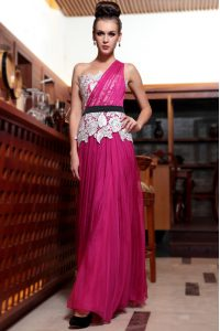 New Arrival Fuchsia One Shoulder Side Zipper Beading and Appliques and Ruching Homecoming Dress Sleeveless