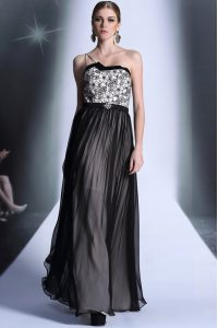Amazing Empire Mother Of The Bride Dress Black Strapless Chiffon Sleeveless Floor Length Side Zipper