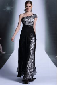 One Shoulder Lace Black Sleeveless Floor Length Embroidery Side Zipper Dress for Prom