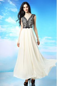Captivating V-neck Cap Sleeves Side Zipper Dress for Prom White And Black Chiffon