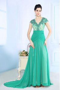 Fitting With Train Side Zipper Pageant Gowns Turquoise for Prom and Party with Beading and Lace and Ruching Brush Train