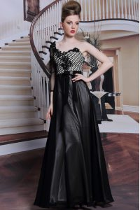 Flirting Black Side Zipper Asymmetric Beading and Appliques and Hand Made Flower Prom Evening Gown Chiffon 3 4 Length Sl