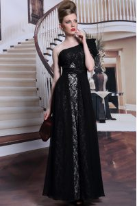 Fashionable One Shoulder Black Side Zipper Prom Evening Gown Lace and Sequins Sleeveless Floor Length