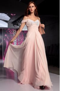 Fashionable Pink Short Sleeves Floor Length Beading and Ruching Backless Homecoming Dress