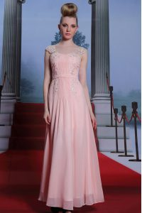 Sumptuous Baby Pink Chiffon Side Zipper Prom Gown Cap Sleeves Floor Length Beading