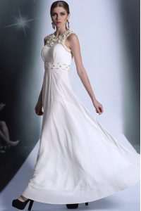 Wonderful White Empire Chiffon Scoop Sleeveless Beading and Hand Made Flower Floor Length Zipper Prom Dresses