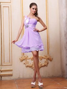 Lavender One Shoulder Mini length Dress for Prom Court with Ruche