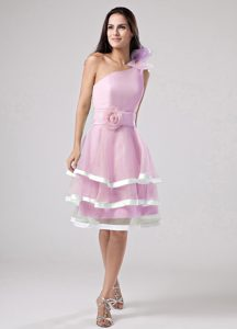 One Shoulder Flowers and Sash Decorated Prom Dresses in Pink with Ruffles