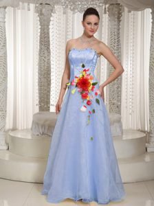 Long Strapless Organza Lilac Grad Prom Dresses with Flowers and Beads
