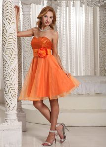 Organza Handmade Flowery Belt and Sequins Decorated Senior Prom in Orange
